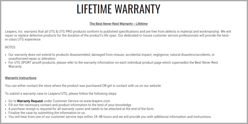 UTG Lifetime Warranty