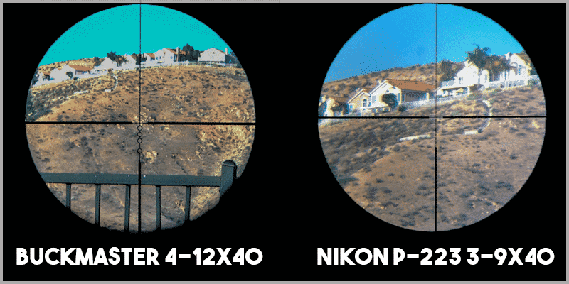 Buckmaster 4-12x40 Reticle vs Nikon P-223 3-9x40 Reticle