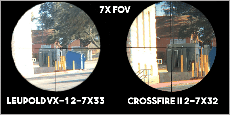 Leupold VX-1 2-7x33 vs Vortex Optics Crossfire II 2-7x32 at 7 FOV